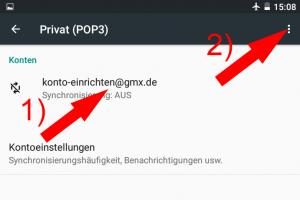 Screenshot: Entfernen des GMX-Postfachs