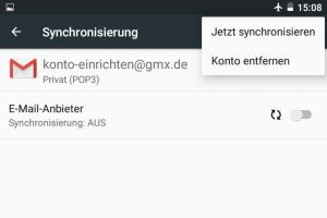 Screenshot: POP3 oder IMAP-Postfach löschen