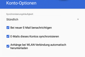 Screenshot: Gmail-Konto-Optionen